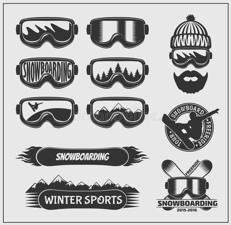 Collection of snowboarding labels, emblems, badges and design elements. Vector royalty free illustration