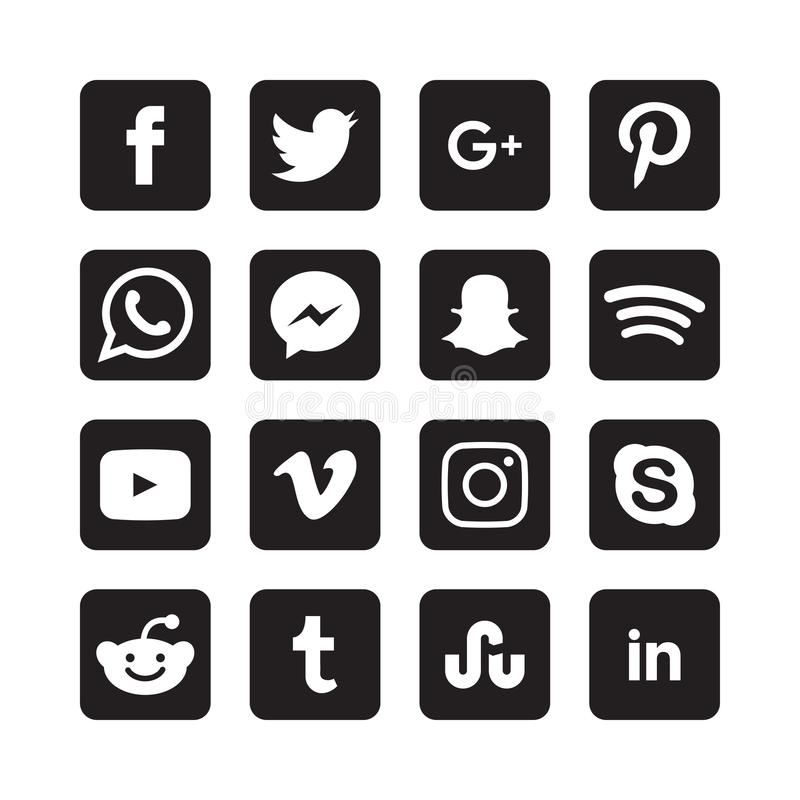 Collection of social media icons royalty free illustration