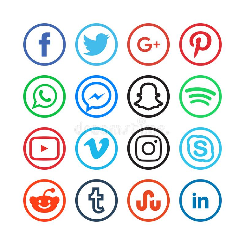 Collection of social media icons vector illustration