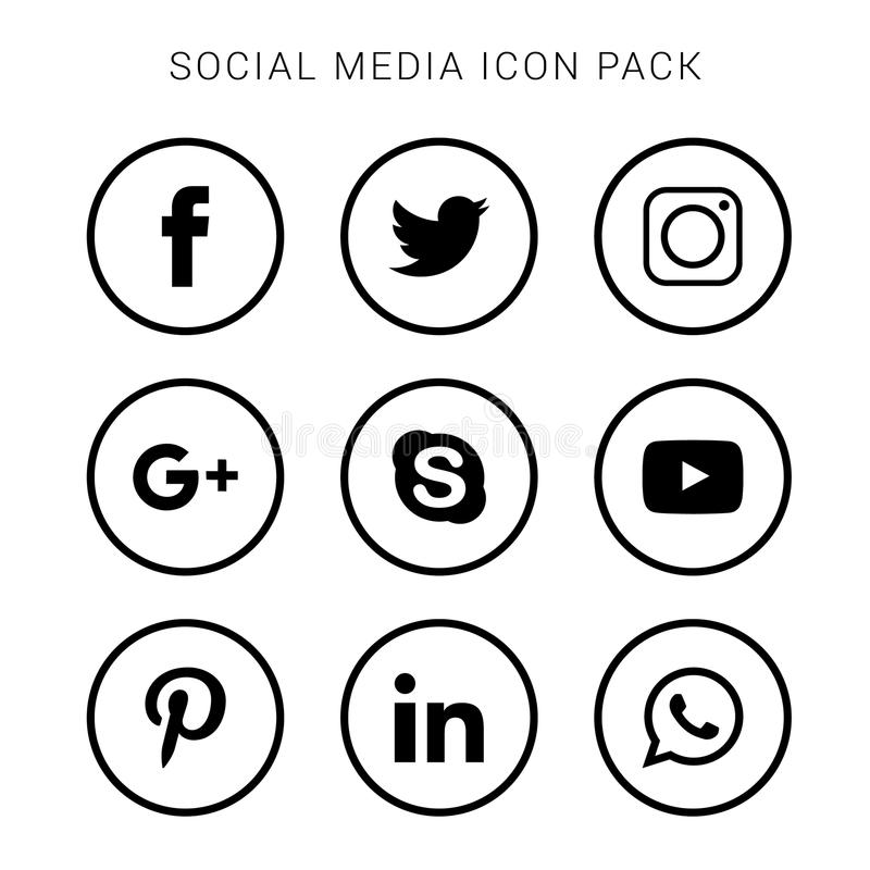 Collection of social media icons and logos stock illustration