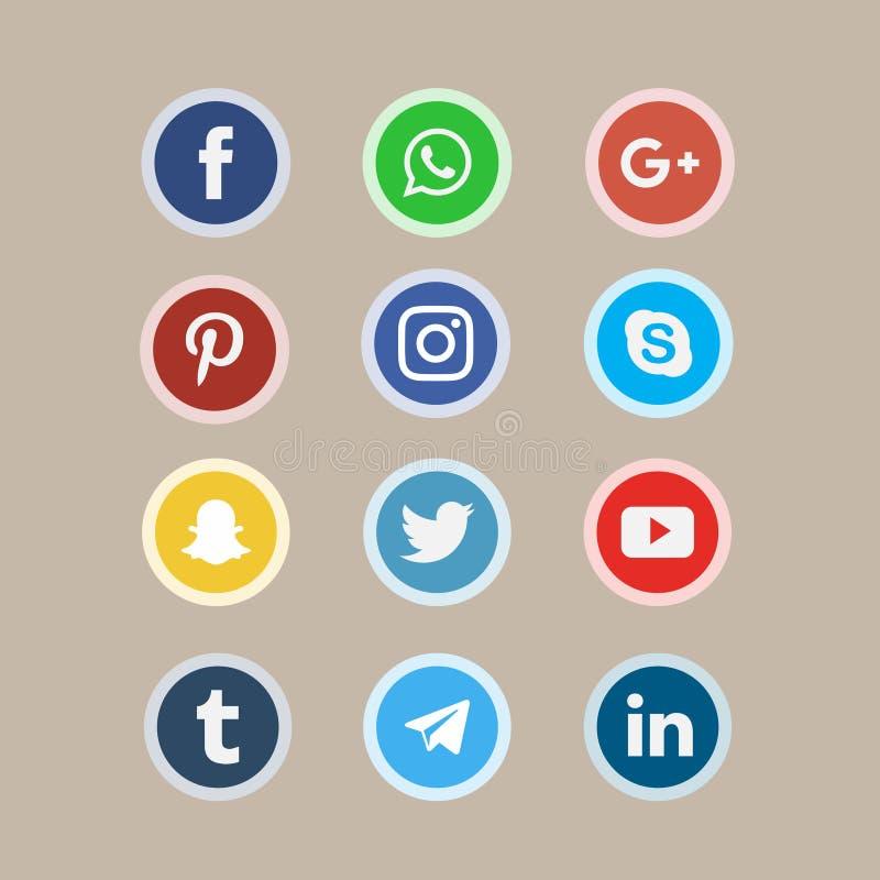 Collection sociale d'icônes de réseau de media images libres de droits