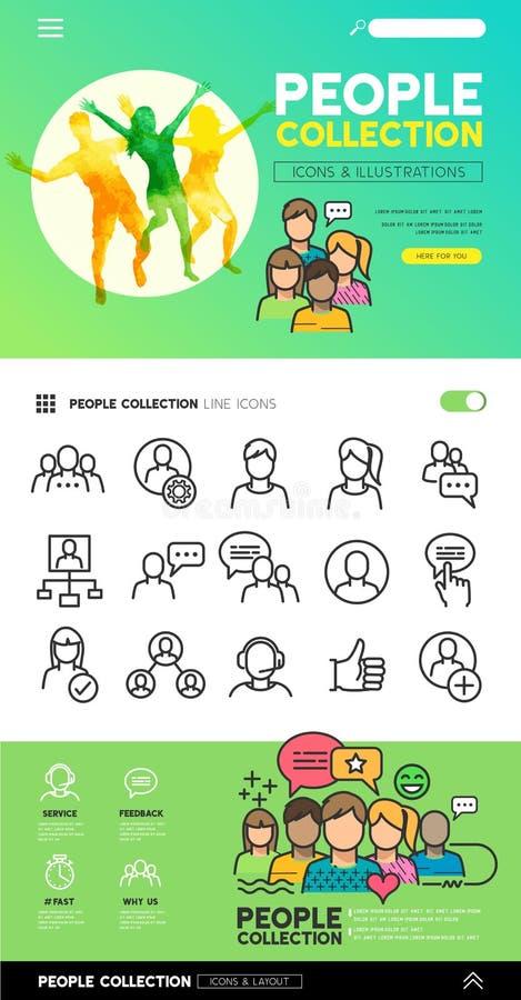 Collection sociale de personnes illustration libre de droits