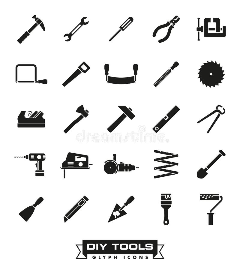 Crafting tools glyph icon set. Collection of solid black DIY and crafting tool vector icons royalty free illustration