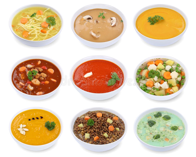 Collection of soups soup in bowl tomato vegetable noodle isolate. D on a white background stock photos
