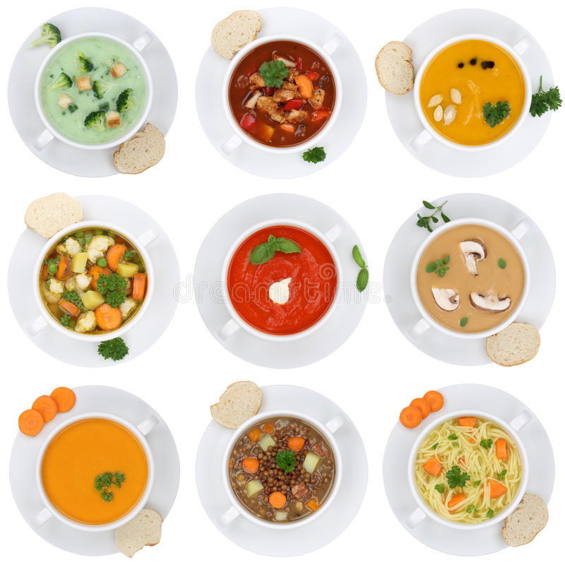Collection of soups soup in cup tomato vegetable noodle isolated. On a white background from above royalty free stock images