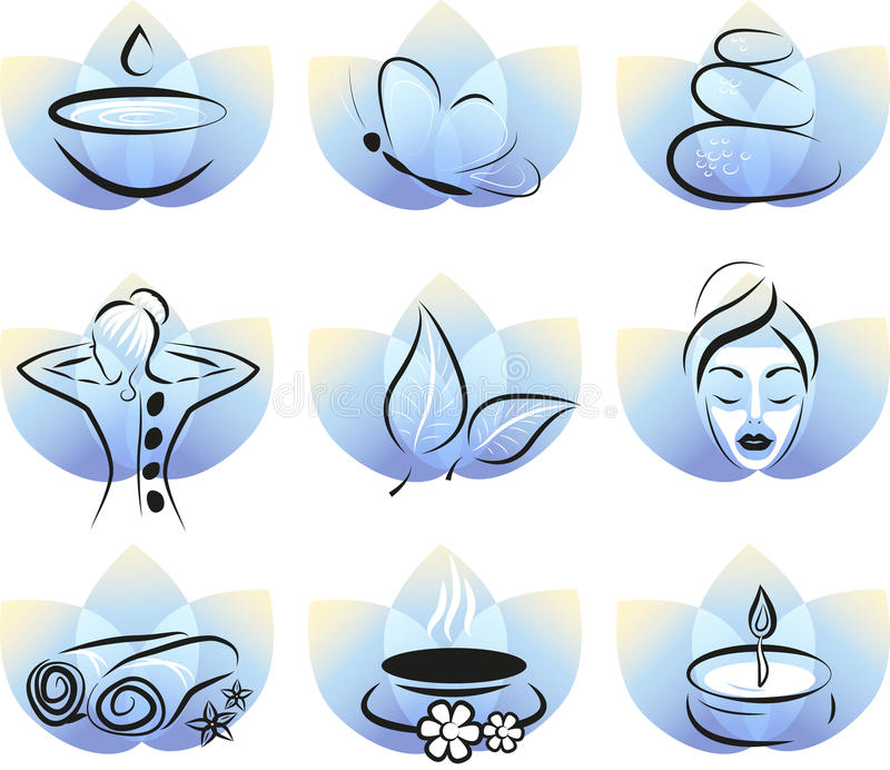 Collection of spa items stock illustration