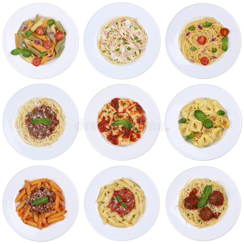 Collection of spaghetti, Ravioli noodles pasta meal isolated royalty free stock image
