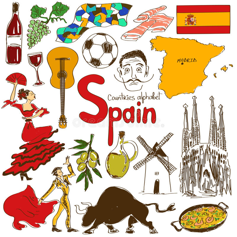 Collection of Spain icons. Fun colorful sketch collection of Spain icons, countries alphabet stock illustration