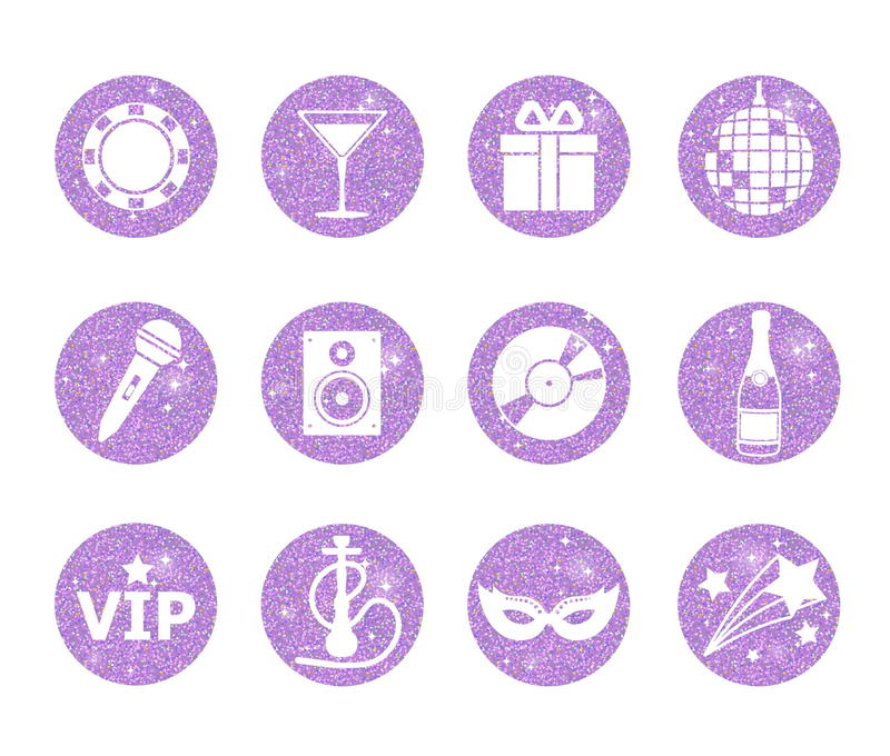 A collection of sparkling violet glitter stylized fancy night club and party circle icons. Music, sound, drink, hookah, disco ball stock illustration