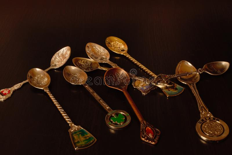 Collection Of Gift Spoons From Different Countries Stock