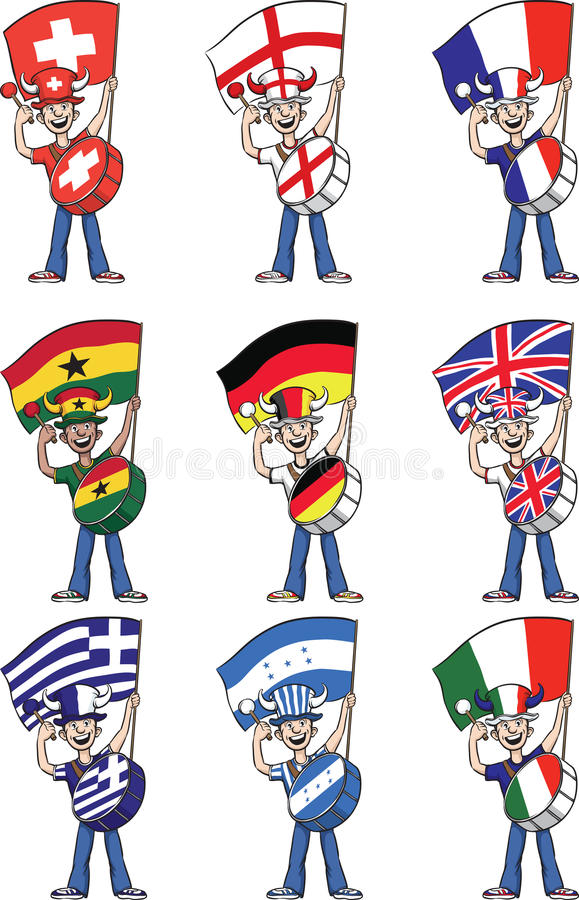 Collection of sports fans holding flags and beating on drums vector illustration