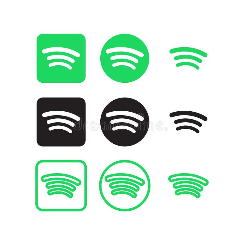Spotify social media icons vector illustration