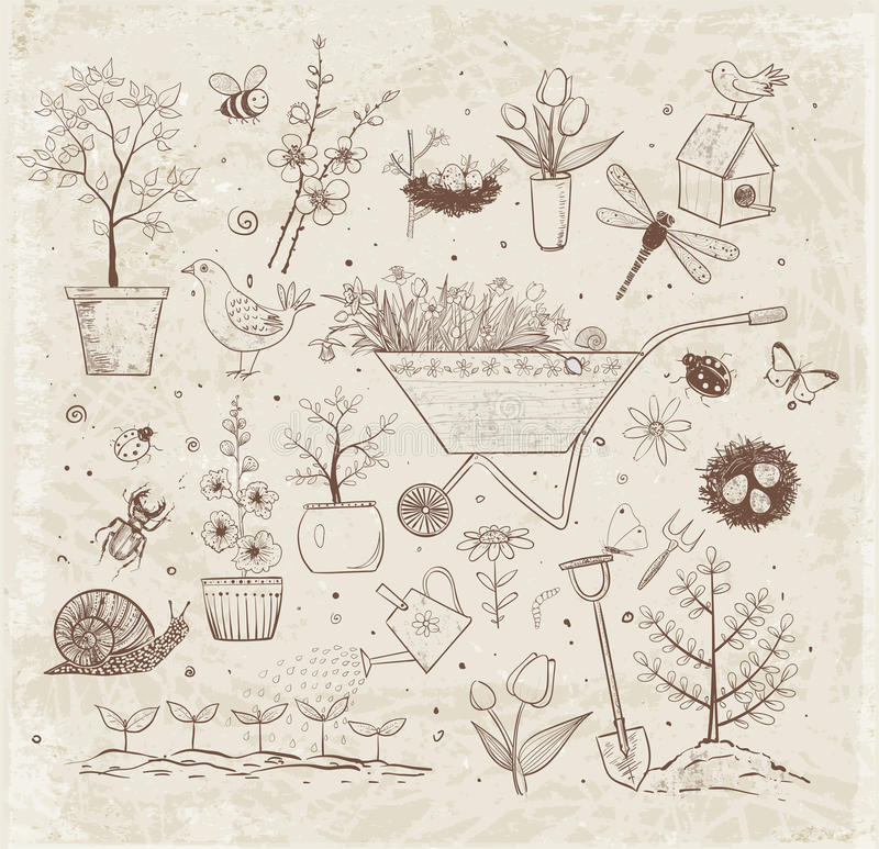 Collection of spring doodle sketch elements vector illustration