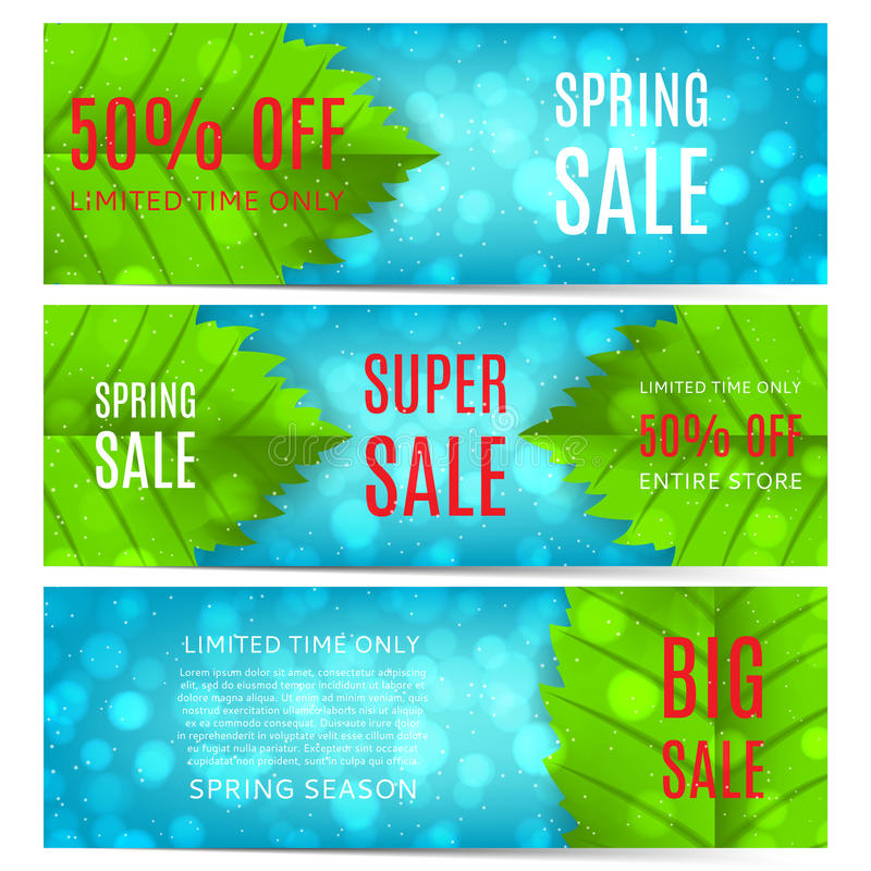 Collection of spring sale banners. Elegant spring templates of banners with green leafs. Vector illustration vector illustration