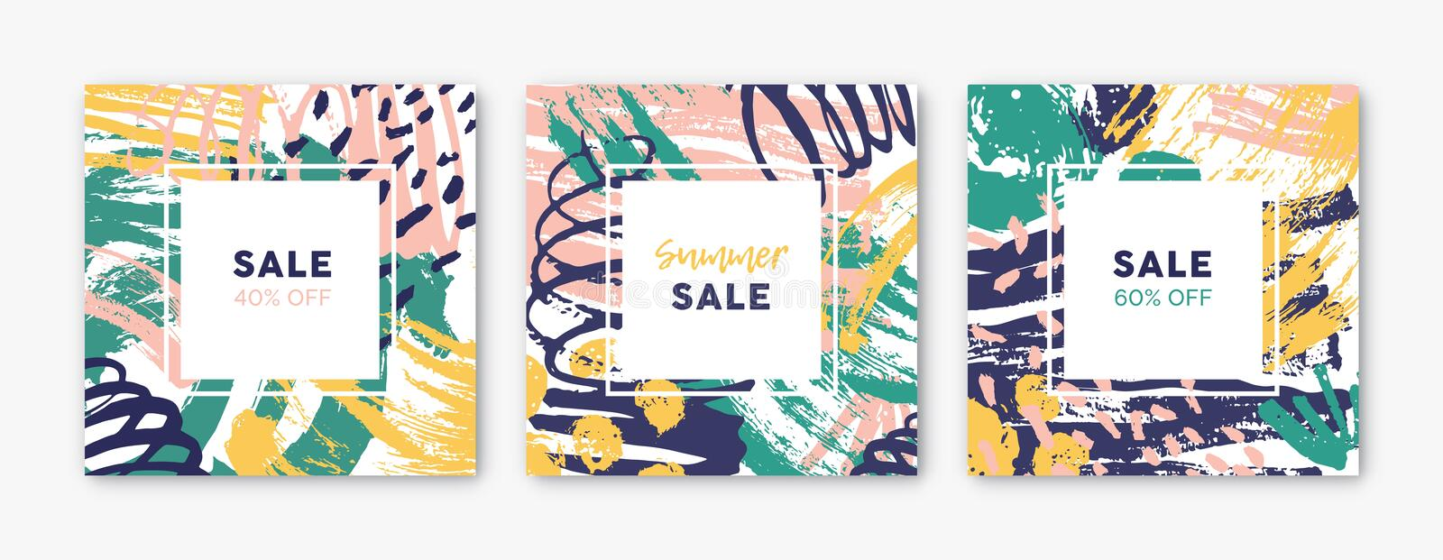 Collection of square card templates with abstract bright colored paint blotches, stains, drops, scribble, brush strokes stock illustration