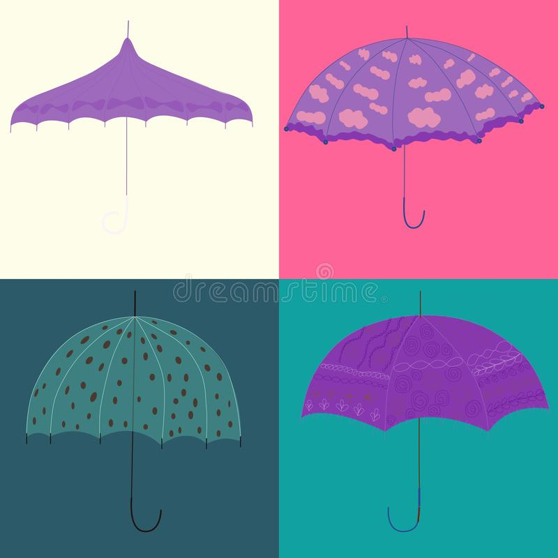 Collection square cards with open umbrellas in retro style vector illustration