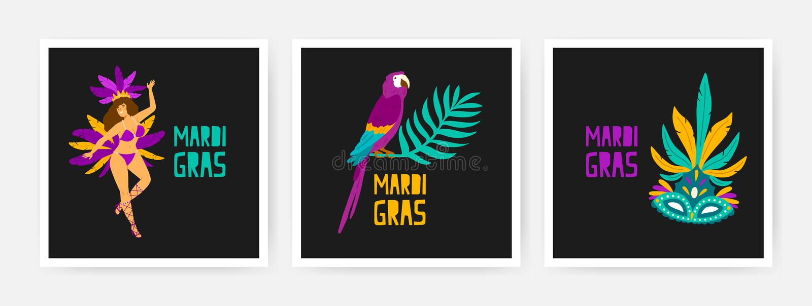 Collection of square Mardi Gras cards decorated by exotic parrot sitting on branch of tropical tree, dancer, festive royalty free illustration