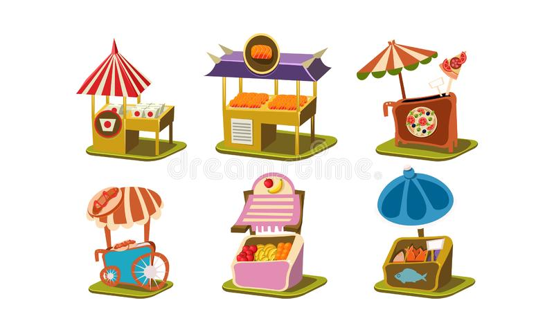 Flat vector set of stalls with fast food pizza, sushi and hot dog , fresh fish and fruits. Small street business vector illustration