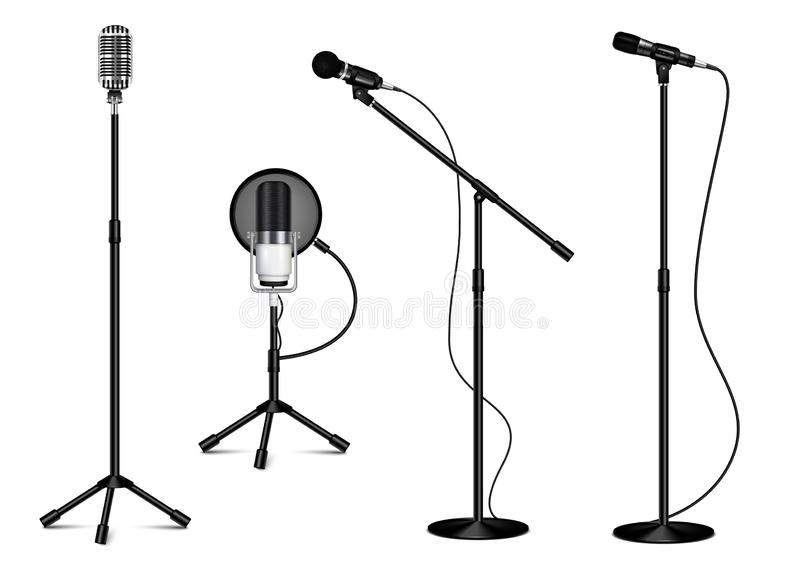 Collection Of Standing Professional Microphones. Vintage collection of standing professional microphones with wire on white background in realistic style royalty free illustration
