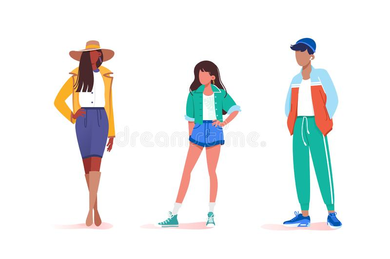 Collection of stay various male and female poses. Concept set young man and woman model walks down the runway. illustration vector illustration
