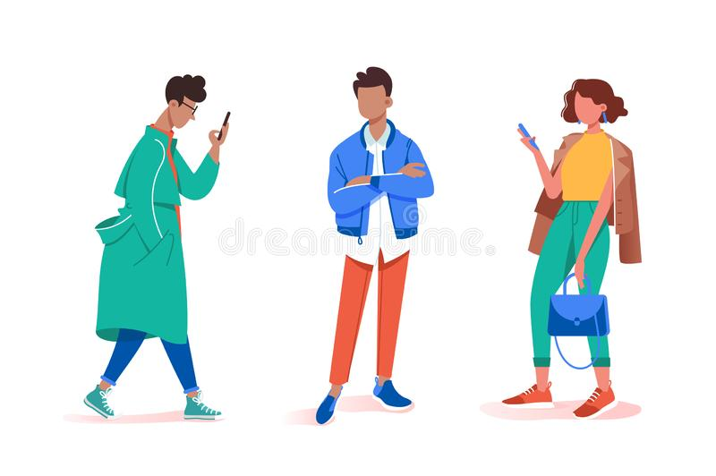 Collection of stay and wait various male and female poses. Concept set young man and woman model with cellphone walks down the runway. illustration vector illustration