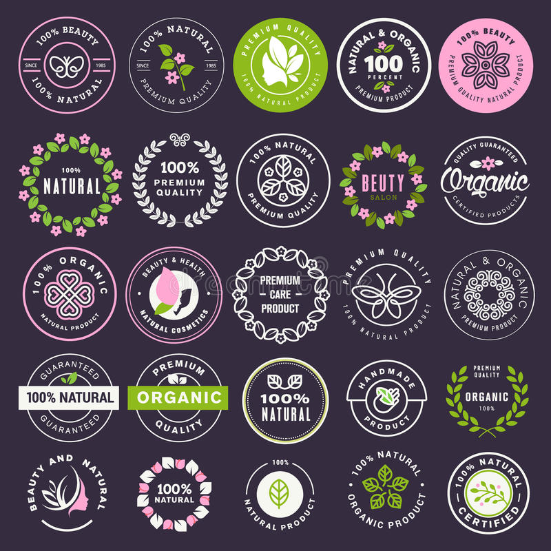 Collection of stickers and badges for natural cosmetics and beauty products. Vector illustrations on a stylized background, for cosmetics, healthcare, spa and
