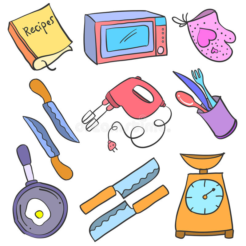 Collection stock kitchen accessories doodles royalty free illustration