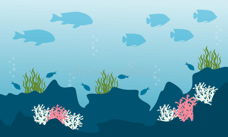 Collection stock of underwater landscape. Vector art stock illustration
