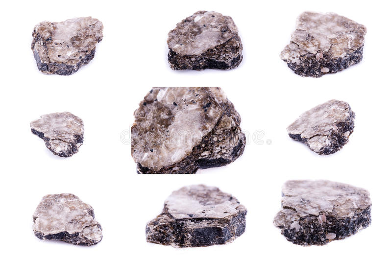 Collection of stone mineral Heylandite stock images