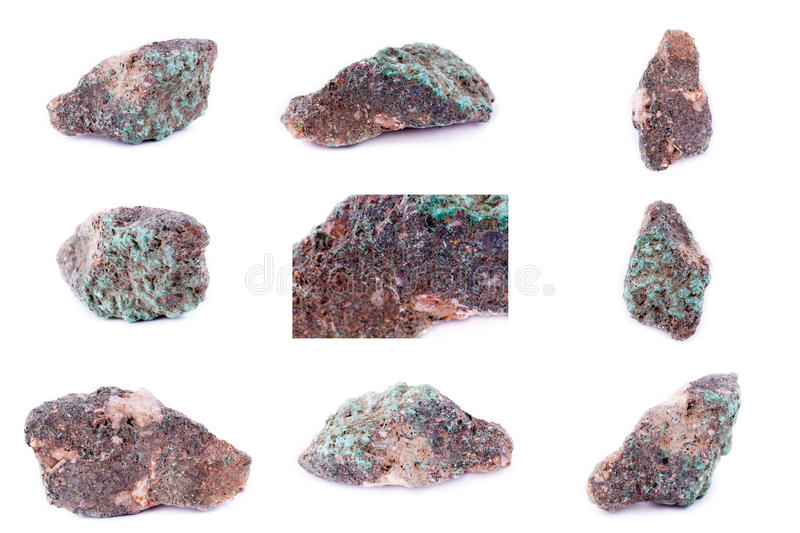 Collection of stone mineral Malachite. Close up stock photos