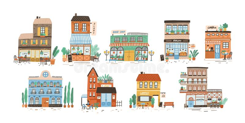 Collection of stores, shops, cafe, restaurant, bakery, coffee house isolated on white background. Bundle of buildings on. Street of European city. Flat vector vector illustration