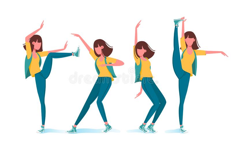 Collection of strange various girl poses. Concept set young woman practicing karate, ballet, dancing. illustration vector illustration