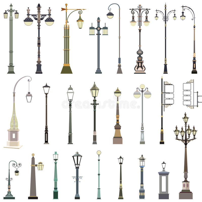 Collection of street lamps. Vector collection of street lamps stock illustration