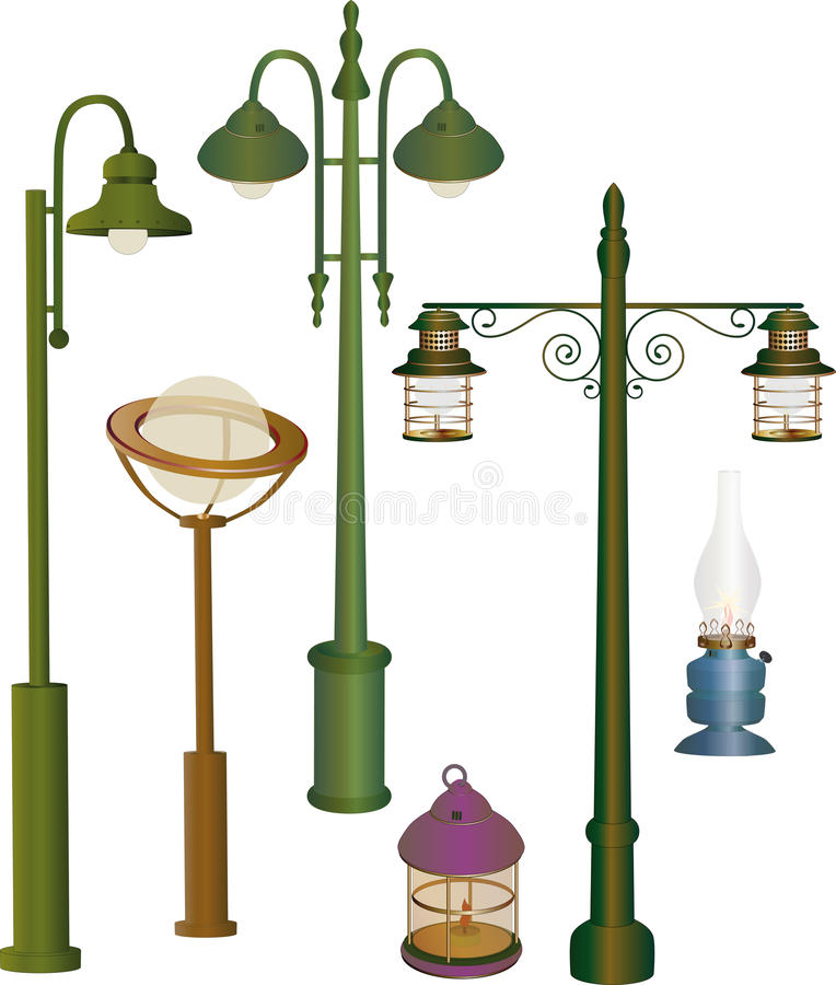 Collection street lanterns stock illustration