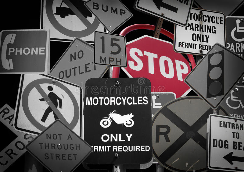 Collection of street signs. Collection of black and white street signs with red stop sign royalty free stock photo