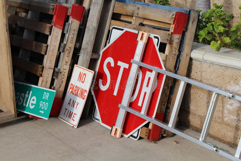 Collection street signs stock image