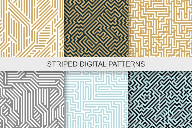 Collection of striped seamless geometric patterns. Colorful texture. Digital background vector illustration