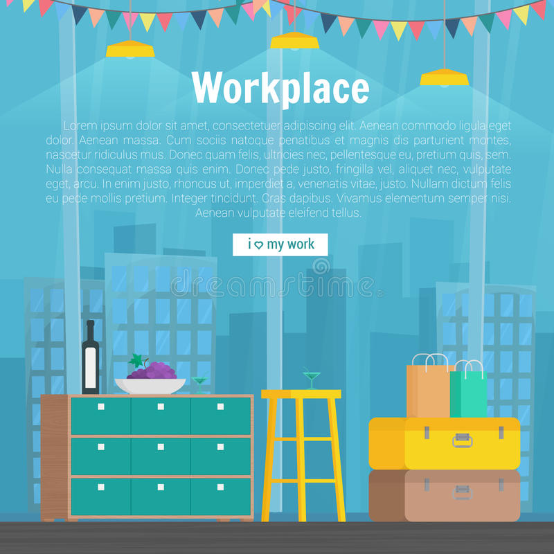 Collection stylish colors business work flow items elements, things, equipment, objects. Flat modern design concept of. Creative office room interior workspace royalty free illustration