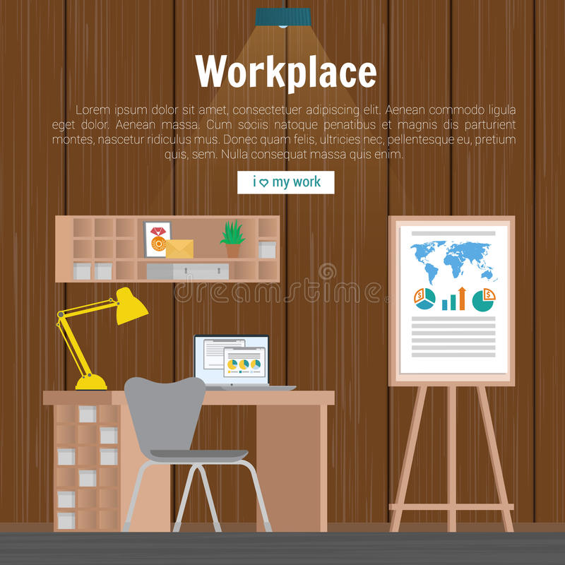 Collection stylish colors business work flow items elements, things, equipment, objects. Flat modern design concept of. Creative office room interior workspace stock illustration