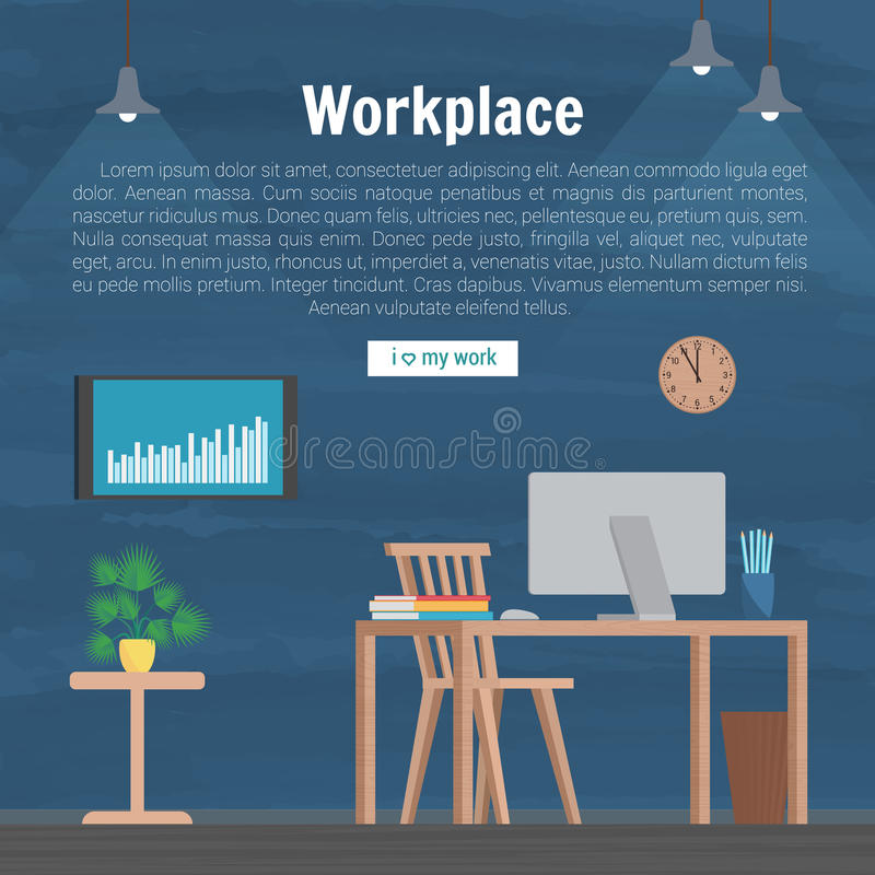 Collection stylish colors business work flow items elements, things, equipment, objects. Flat modern design concept of. Creative office room interior workspace vector illustration