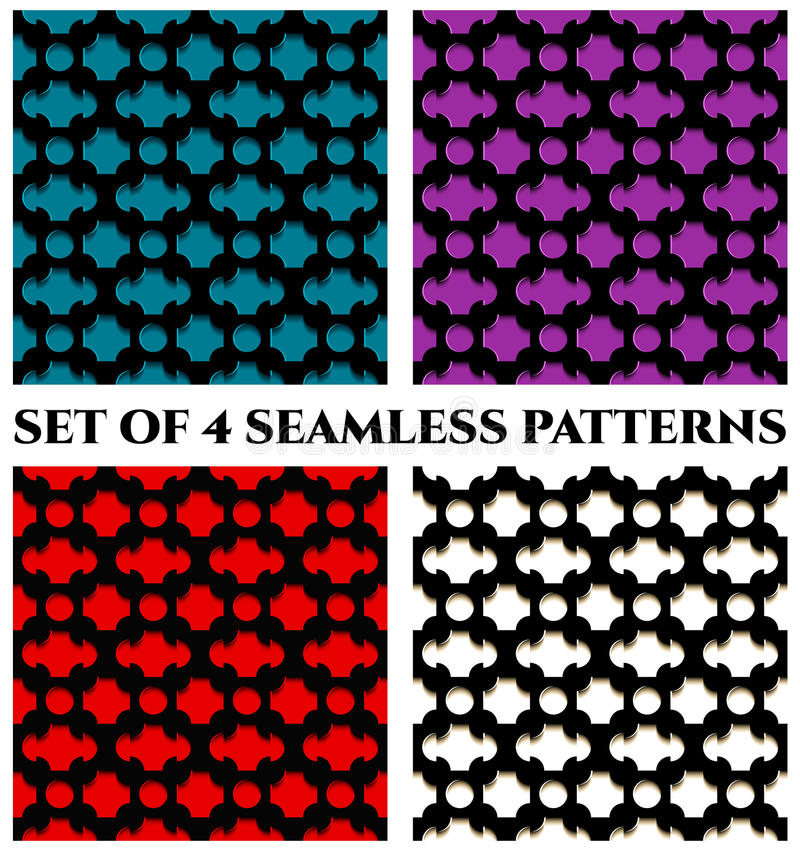 Collection of 4 stylish 3d seamless patterns with black geometric ornament on colorful backgrounds royalty free illustration