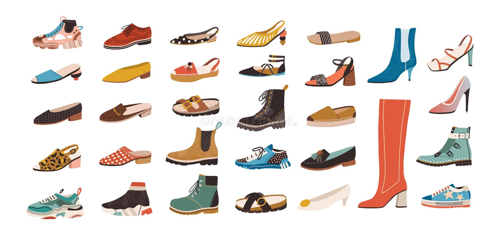 Collection of stylish elegant shoes and boots of different types isolated on white background. Bundle of trendy casual vector illustration