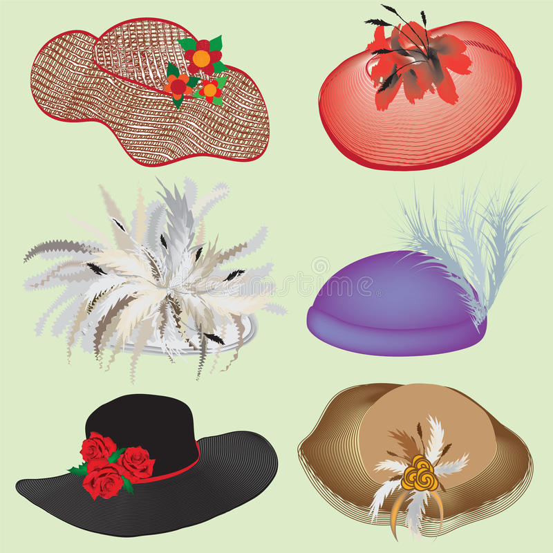 Collection of stylish hats for woman stock illustration