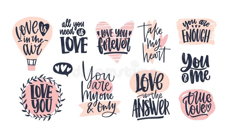 Collection of stylish Valentine`s day lettering handwritten with elegant cursive font. Romantic phrases, slogans. Decorated by pink hearts isolated on white royalty free illustration