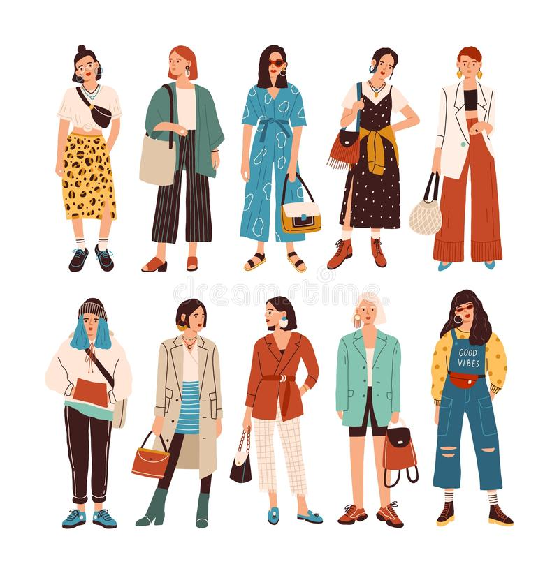 Collection of stylish young women dressed in trendy clothes. Set of fashionable casual and formal outfits. Bundle of. Cute girl hipsters or trendsetters. Flat stock illustration