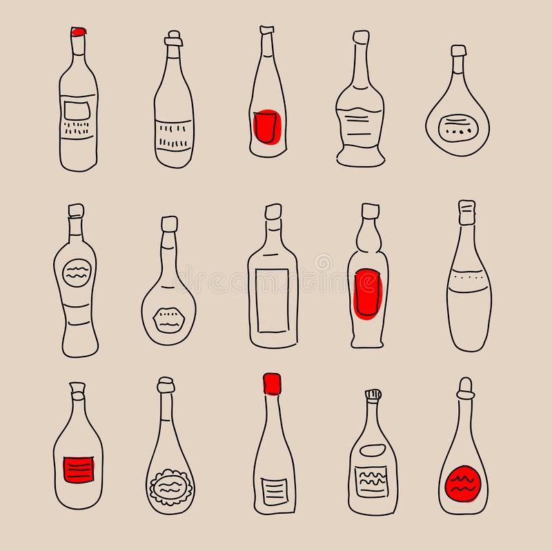 Collection of stylized hand-drawn spirits for design. Collection of a stylized hand-drawn spirits for design vector illustration
