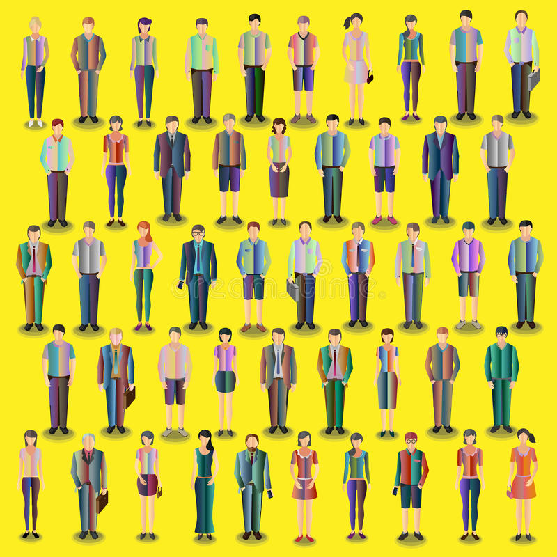 Collection of stylized people. Collection of standing stylized casual people with gradient fill stock illustration
