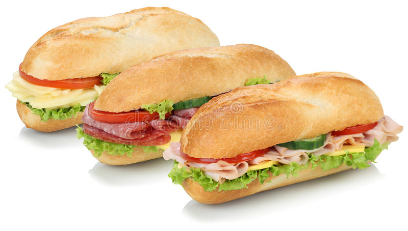 Collection of sub sandwiches baguettes with salami, ham and cheese isolated. On a white background stock photos