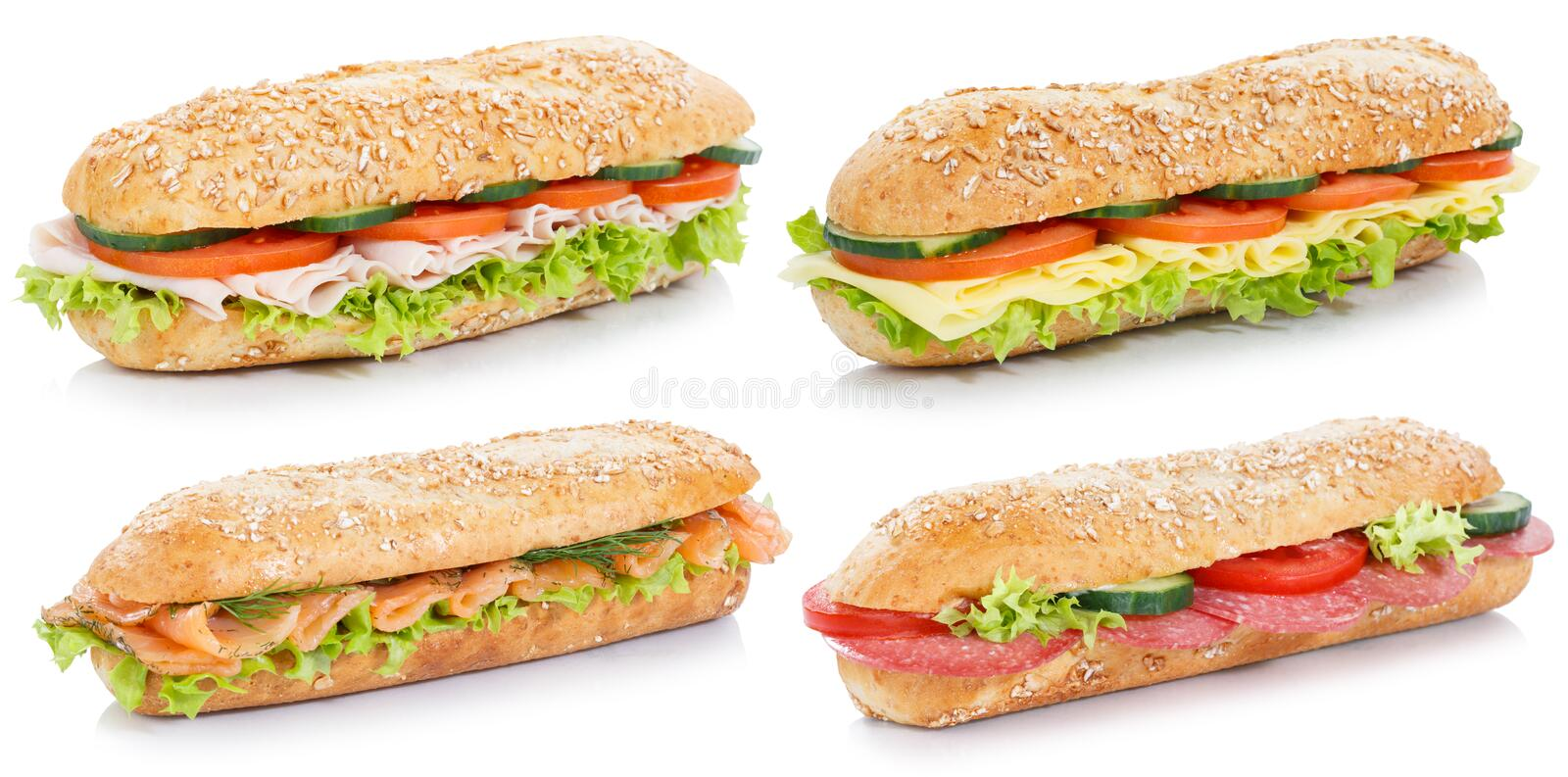 Collection of sub sandwiches with salami ham cheese salmon fish. Whole grains isolated on a white background royalty free stock images