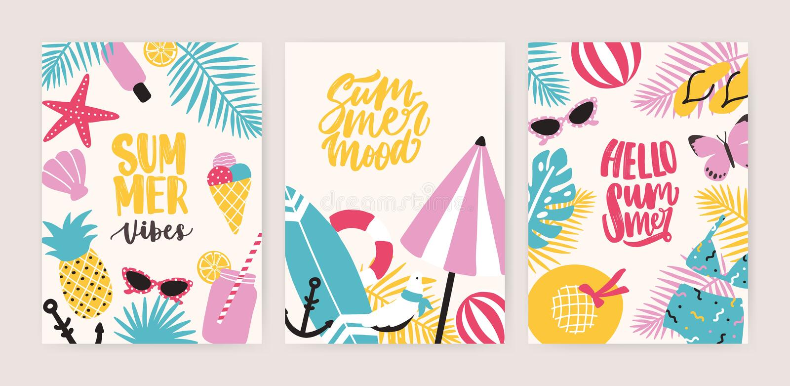 Collection of summer card or flyer templates with decorative summertime lettering and tropical exotic paradise beach royalty free illustration